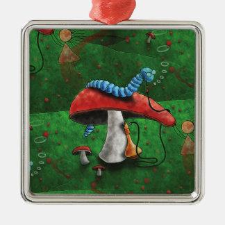 Magischer Pilz Quadratisches Silberfarbenes Ornament