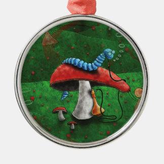 Magischer Pilz Rundes Silberfarbenes Ornament