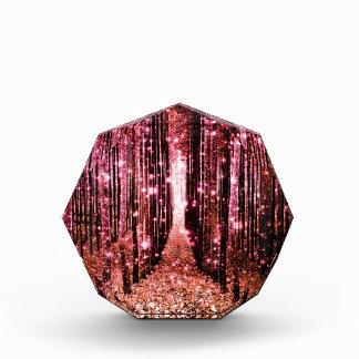 Magischer Waldweg-Rosa-Pfirsich Acryl Auszeichnung