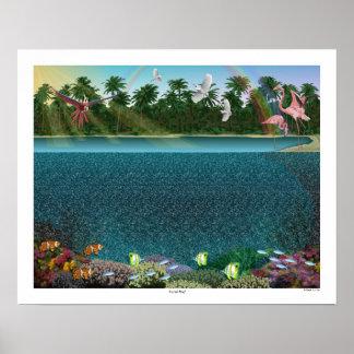 """Magisches Augen- ® 3D """"Korallenriff-"""" Plakat 20"""" x"""