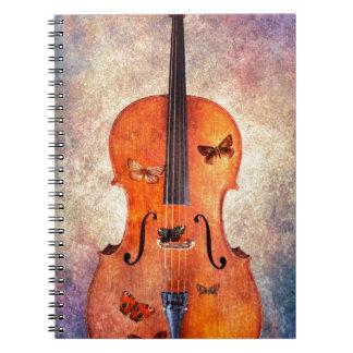 Magisches Cello mit Schmetterlingen Spiral Notizblock
