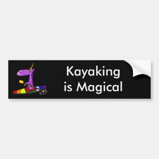 Magisches Einhorn-Kayaking Kunst Autoaufkleber