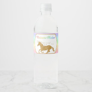 Magisches Einhorn-Nektar-Regenbogen-Gold Wasserflaschenetikett