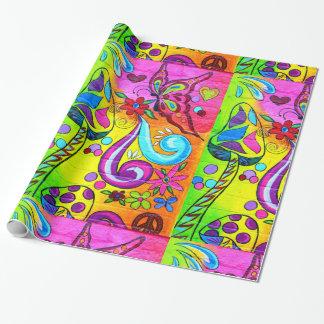 magisches Pilz-Packpapier des Hippie Geschenkpapier