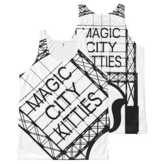 Magisches Stadt-Kätzchen ganz über Behälter Komplett Bedrucktes Tanktop