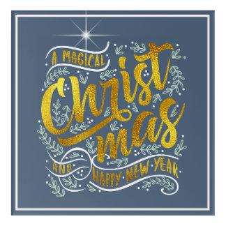 Magisches Weihnachtstypographie-Gold ID441 Acryldruck
