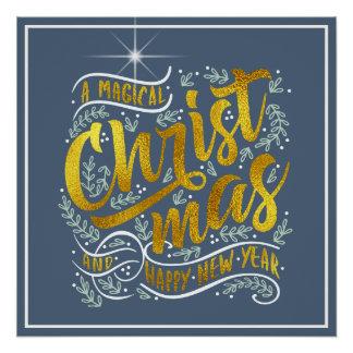 Magisches Weihnachtstypographie-Gold ID441 Poster