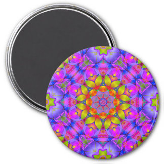 Magnet-BlumenFraktal-Kunst G445 Runder Magnet 7,6 Cm