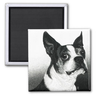 "Magnet Bostons Terrier - ""Boston-Art "" Quadratischer Magnet"