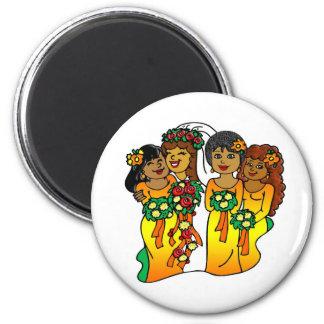Magnet: Brautjungfern in den Farben des Sun Kühlschrankmagnet
