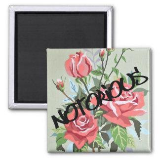 """Magnet der Spaß-Vintager rosa Rosen-PBN """"notorisch Quadratischer Magnet"""