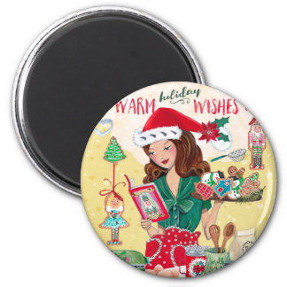 Magnet des Feiertags-warmer Wunsch-Weihnachten  Runder Magnet 5,7 Cm