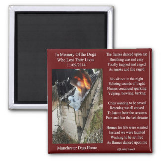 Magnet-Manchester-Hundefeuer-Gedicht Quadratischer Magnet