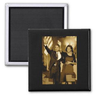 Magnet Obama (schwarzer Hintergrund) Quadratischer Magnet