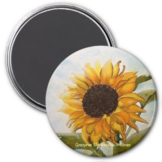 Magnet,,Sonnenblume,, Runder Magnet 7,6 Cm