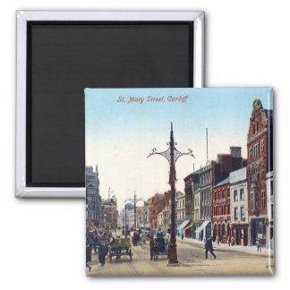 Magnet - Straße Cardiffs St Mary Quadratischer Magnet