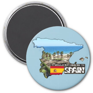 [Magnet] würde ich eher in Spanien sein Runder Magnet 7,6 Cm