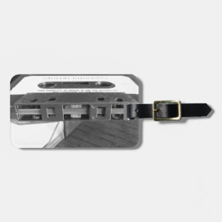 Magnetbandnahaufnahme der Vintagen Audiokassette Gepäckanhänger