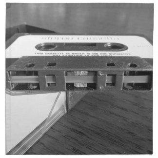 Magnetbandnahaufnahme der Vintagen Audiokassette Stoffserviette