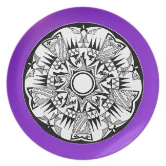 'Magnetisches lila Sunshine Flache Teller