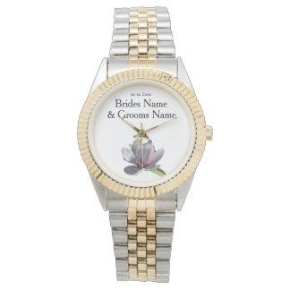Magnolien-moderne einfache elegante armbanduhr