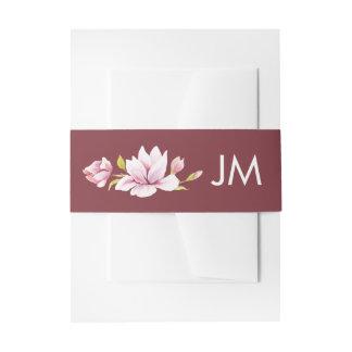 Magnolien-Romance Monogramm-Blumenhochzeit Einladungsbanderole