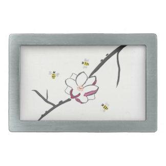 Magnolien-und Honig-Bienen Rechteckige Gürtelschnalle