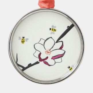 Magnolien-und Honig-Bienen Rundes Silberfarbenes Ornament