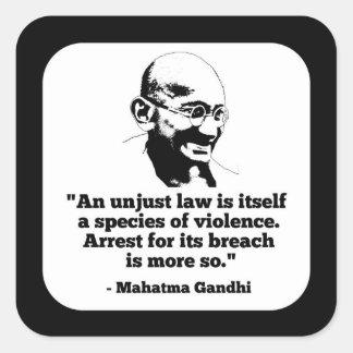 Mahatma- Gandhiaufkleber Quadratischer Aufkleber