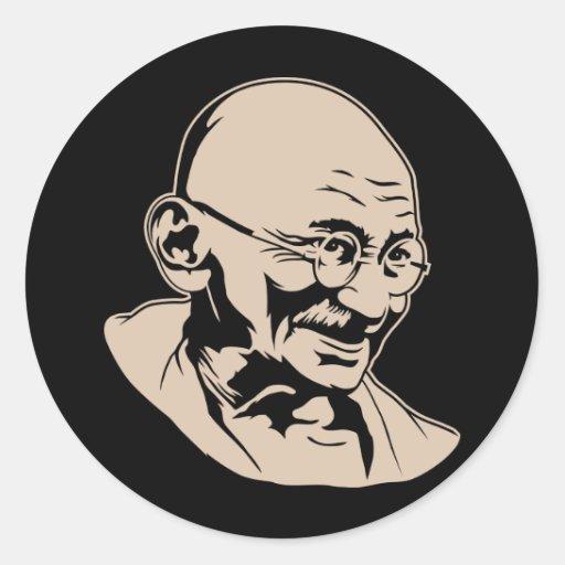 Mahatma- Gandhiporträt-Aufkleber Runder Aufkleber
