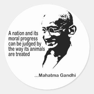 Mahatma Gandhitierrechte Runde Aufkleber