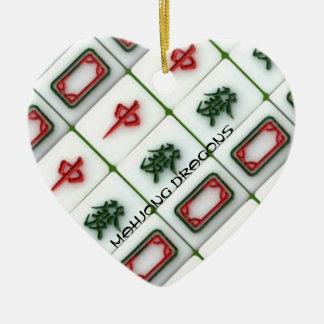 Mahjong Drachen Keramik Herz-Ornament