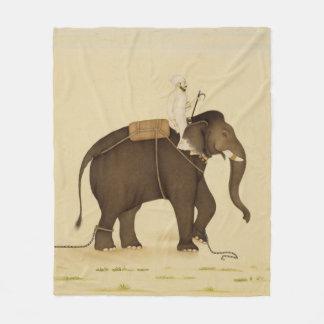 Mahout, der eine Elefant-Malerei (18. Jahrhundert, Fleecedecke