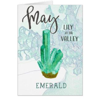 Mai-Geburtstags-Smaragd und Maiglöckchen Karte