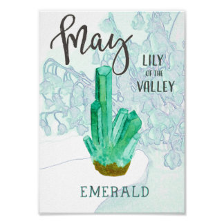 Mai-Geburtstags-Smaragd und Maiglöckchen Poster
