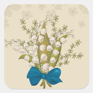 Maiglöckchen-Blumenstrauß Quadratischer Aufkleber