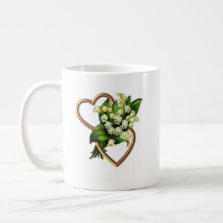 Maiglöckchen mit zwei Herzen Kaffeetasse