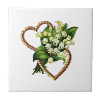Maiglöckchen und Herzen Keramikfliese