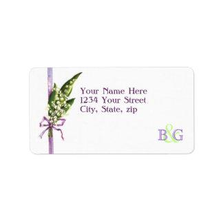 Maiglöckchenbrautmonogramm-Adressen-Etikett Adressaufkleber