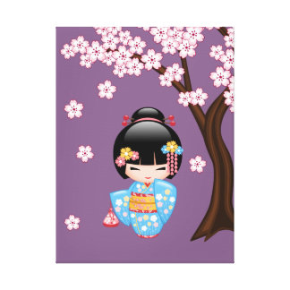 Maiko Kokeshi Puppe - blaues Kimono-Geisha-Mädchen Leinwanddruck