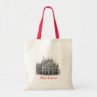 Mailand-Kathedrale, die rote weiße Taschen-Tasche Budget Stoffbeutel