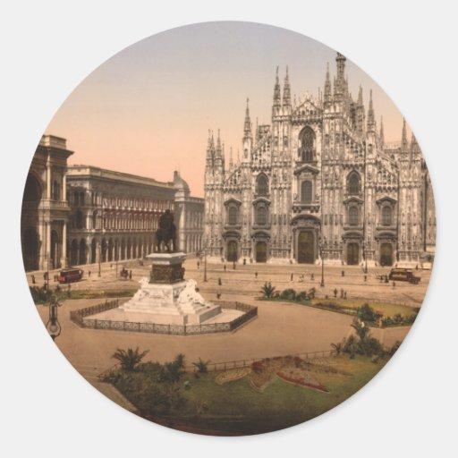 Mailand-Kathedrale und Marktplatz, Lombardei, Ital Runder Sticker