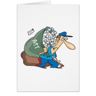 Mailman, der einen großen Sack trägt Karte