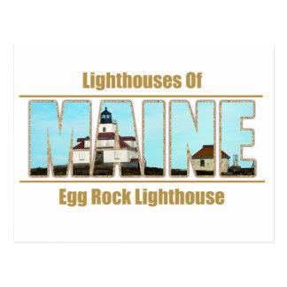 Maine-Ei-Felsen-Leuchtturm-Bild-Text Postkarte