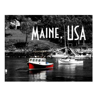 Maine-Farbe auf schwarzer Boots-Postkarte Postkarte