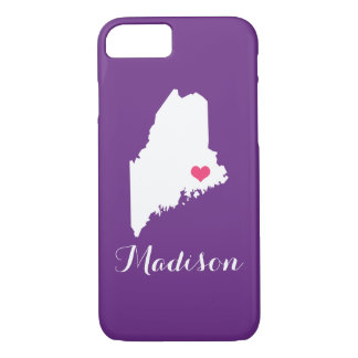 Maine-Herz-lila kundenspezifisches Monogramm iPhone 8/7 Hülle
