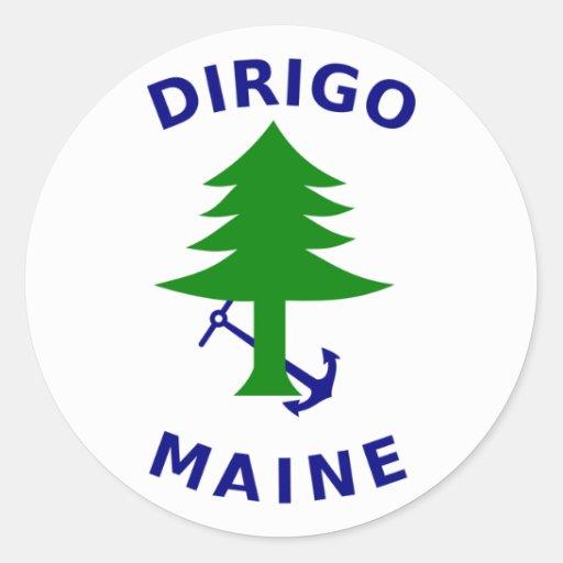 Maine-Nabel-Fahne Runder Sticker