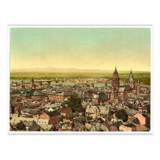 Mainz, in Richtung zum Rhein, der Rhein, Postkarte