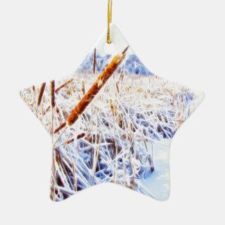 Mais-Hund im Winter Keramik Stern-Ornament