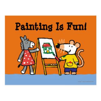 Maisy und Dotty Farbe an der Vorschule Postkarte